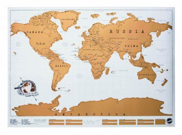 Cadeau insolite carte du monde à gratter