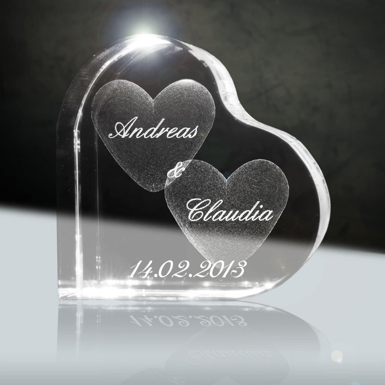 Cristal avec noms à graver insolite et original pour la Saint Valentin