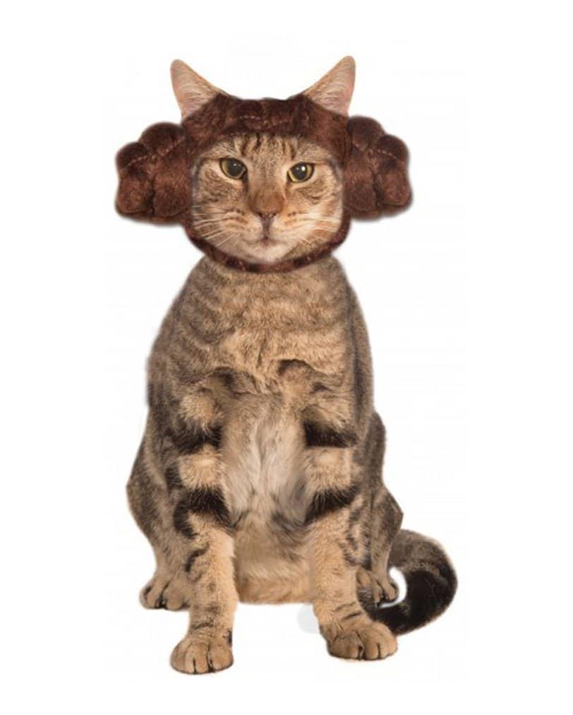 Casque insolite princesse Leia pour chat