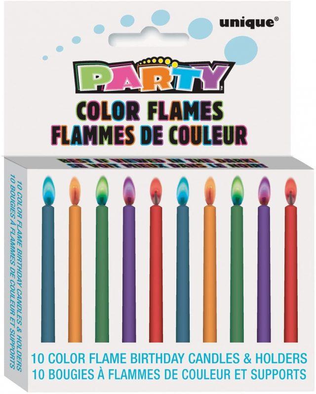 Bougies flammes colorées insolite