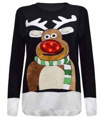 Pull renne lumineux insolite Noël