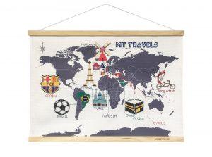 Carte du monde point de croix maison original