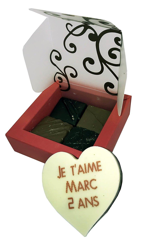 Coeur en chocolat personnalisé saint valentin original