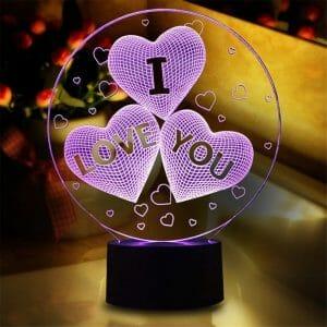 """Lampe 3D """"Je t'aime"""" insolite"""