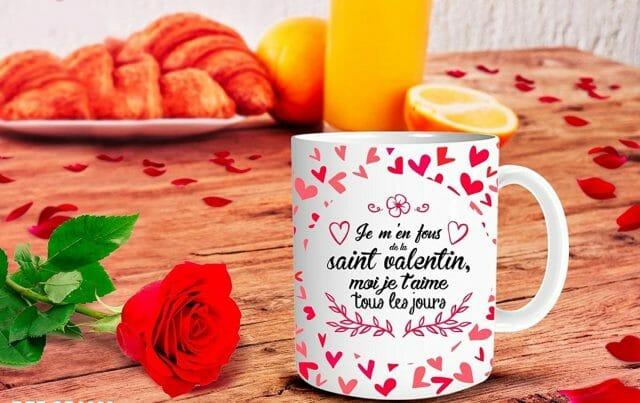 """Mug """"Je m'en fous de la Saint Valentin moi je t'aime tous les jours"""" insolite"""