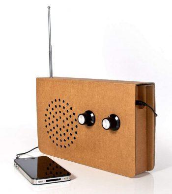 Radio enceinte pour smartphone en carton recyclé