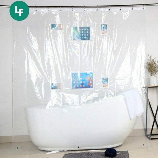 Rideau de douche avec poches tactiles pour smartphone et tablette maison insolite
