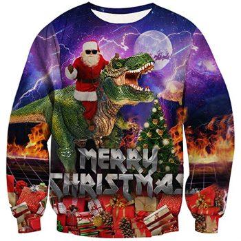 Pull moche de Noël avec dinosaure T-Rex